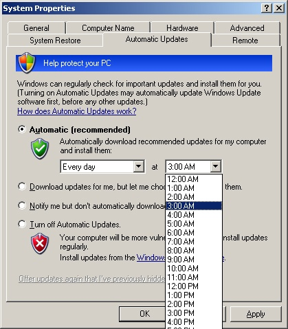 Configure Windows XP Automatic Updates