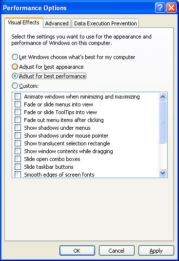 Speed up Windows XP by disabling visual effects