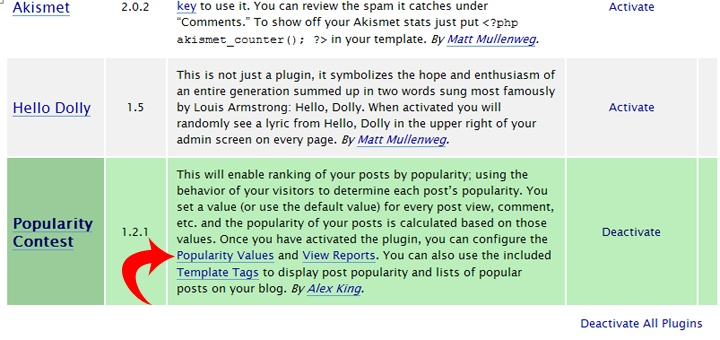Popularity Contest Plug-in for WordPress on static page