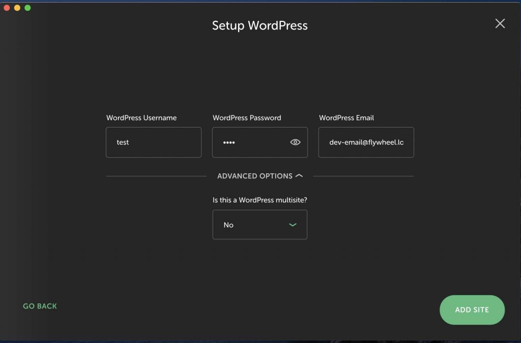 setup the wordpress user