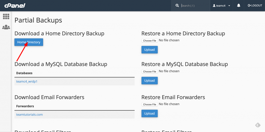 cpanel home directory download
